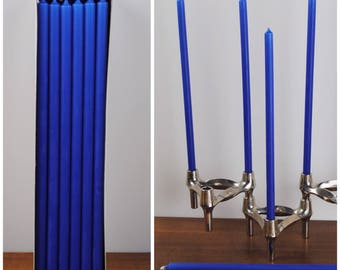 """Set 12 Candles royal blue, 11.8"""" long, Ø 0.5"""" * 30cm / Ø 1.2 cm * suitable for BMF  NAGEL  QUIST stackable Candle Holders * Mid Century Home"""