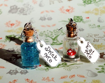 Alice in Wonderland - Drink Me and Eat Me Bottle Earrings - Sterling Silver