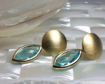 Matte Gold Drop Earrings with Faceted Aqua Glass Drop, Dangle Earrings, Marquise Shape, Fashion Earrings, Modern Earrings, Gold Earrings