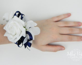 White & Navy Wrist Corsage, Gents Boutonniere, Foam Rose Wedding Accessory, White Prom Corsage and Buttonhole, Artificial Wedding Flowers