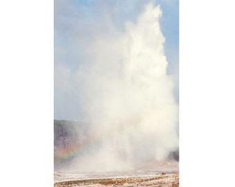 Yellowstone Landscape Photography - Old Faithful - Wyoming - Old Faithful Geyser - Rainbow - Fine Art Photography Print - Blue White Decor