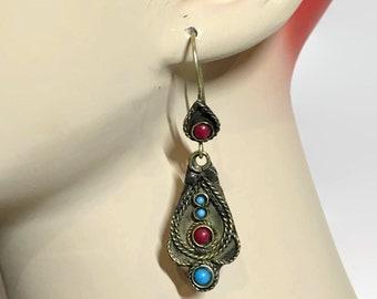 Boho Earrings, Turquoise, Red, Vintage Earrings, Lightweight, Kuchi Gypsy, Pierced Dangle, Afghan Jewelry, Boho Statement, Festival
