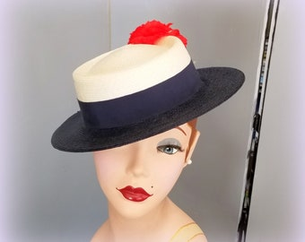Vintage Straw Boater Hat - With Tags - Navy Blue Brim - White Crown - Navy Grosgrain Ribbon Band & Bow - Glorious Red Carnation Accent