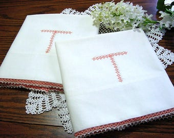 Vintage Cotton Pillowcases with Tatted Edge & Monogram T - NOS Peach White Cottage Chic Bed Wedding Boudoir Bedding