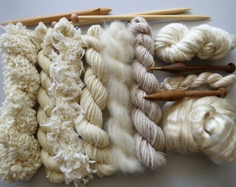 20% OFF - Yarn pack for knitting, crochet, weaving or felting. Wool, silk and kid mohair - Natural.