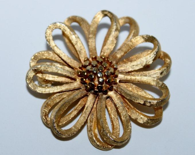 Vintage B.S.K. Gold Tone Brooch,  BSK Jewelry