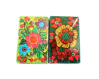 Vintage Cards Stardust Plastic Coated Floral Playing Cards