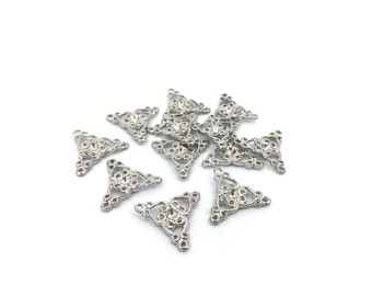 20 Filigree Connector, Necklace Connector, Earring Connector, Jewelry Connector, Stone Setting Space for SS11-17mm, Rhodium, MF0219
