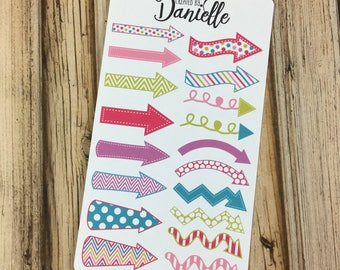 Arrow Planner Stickers, To Do Stickers, Bullet Journal Stickers, Bujo Stickers, Decorative Arrow Stickers, set of 18