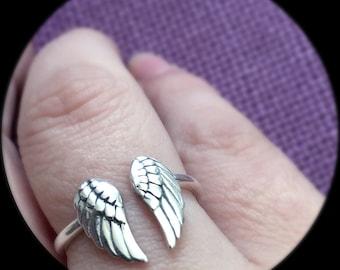 Angel Wing Ring - Memorial Jewelry - Sterlig silver wing - Adjustable ring - Memorial Ring - Wings - Guardian Angel Wings