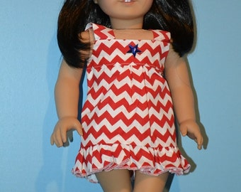 First Day of Summer American Made Dress fits 18 In. Girl Dolls-Red Chevron Print-Patriotic Blue Star Button-Cute White Ballet Flats Optional
