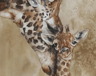 PRINT or ORIGINAL watercolor painting original painting in watercolor painting watercolor animal painting Giraffe painting CUSTOM Commission