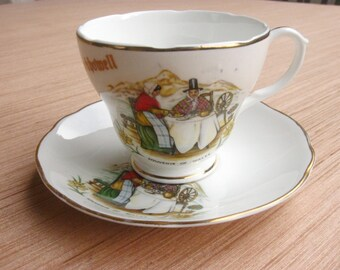Souvenir of Wales, Vintage Cup and Saucer Set, Porcelain Teacup, Tea Party, Crickhowell