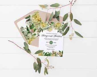 Greenery Wedding Invitation Template, Printable Wedding Invitation Set, Floral Printable Wedding Invite Set, Wedding Stationery,