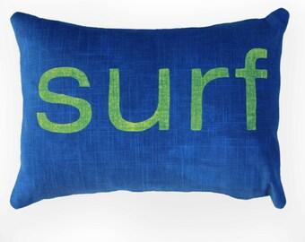 Blue and Yellow Surf Pillow Beach AirBnB Decor Beach House Airbnb Summer Home Decorations Surf Lumbar Pillow Rectangular Surf Pillow