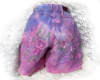 high waisted jean shorts - pink jean shorts - painted jean shorts - distressed jean shorts - upcycled dyed shorts - Hippy shorts  # 5