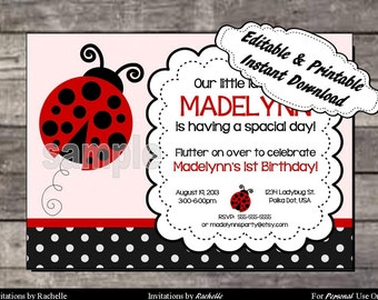 Ladybug Invitation Birthday Party - Editable Printable Digital File with Instant Download