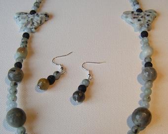 Sesame jasper butterflies and labradorite necklace and earring set #75