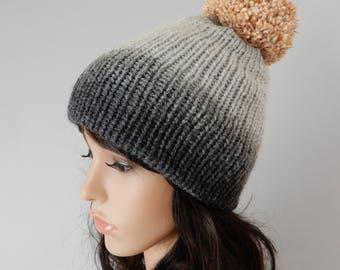 Gray winter pom pom beanie women Knit hat women Beanie pom pom women Knit winter hat Beanie girl Ski beanie Wool hat stretchy XS-L