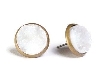 White snow textured stud earrings - Faux Druzy earrings - Textured earrings - Antique brass post earrings - Faux drusy (761)