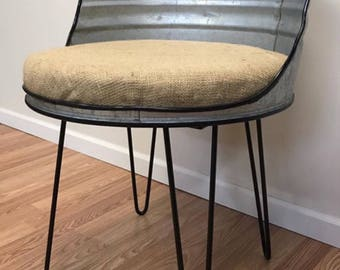 Vintage Farmhouse Chair Galvanized Metal Wash Tub Upcycled With Black  Hairpin Legs And Burlap Upholstery MCM Legs Small Farmhouse Chiar