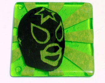 Lucha Fused Glass Coaster, Luchador Coaster, Wrestling Coaster, Drink Coaster