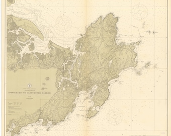 Gloucester Harbor Map and Ipswitch Bay - 1912