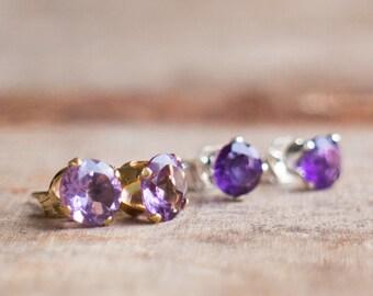Amethyst Earrings Studs, Gift for Women, February Birthstone, Purple Studs, Amethyst Stud Earrings, Ear Studs, Gift for Her, Gemstone