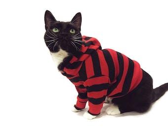 Red and Black Striped Cat Hoodie-Cat Hoodies-Striped Cat Hoodie-Cat Clothes-Cat Sweater-Cat Clothing-Cat Shirt-Cat Sweatshirts-Cat Shirts