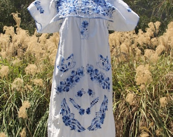 vintage cotton mexican gauze cream caftan dress with embroidery