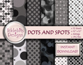 """Dots and Spots (Chimney Smoke) Textured Digital Paper Pack For Scrapbooking 12x12"""", 300dpi, 12 sheets - INSTANT DOWNLOAD Design #26"""
