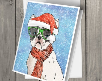 Set of five cute French Bulldog wearing glasses watercolor Holiday Blank cards with envelopes