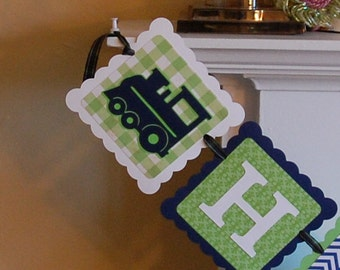 Train Happy Birthday Banner, Train Party, Train Birthday, Train Theme, Choo Choo, Chugga Chugga Navy Lime White