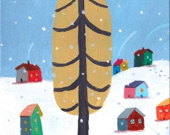 Happy snow  Original illustration, wall decor,