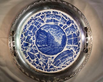 Custom Collector Plate Mosaic on Silver Platter, your broken collector plate, broken china mosaic