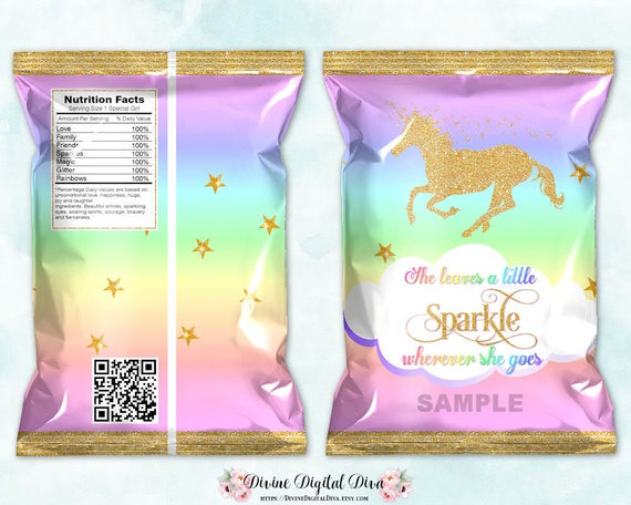 Printable Chip Bags Unicorn Magical Rainbow Gold Glitter