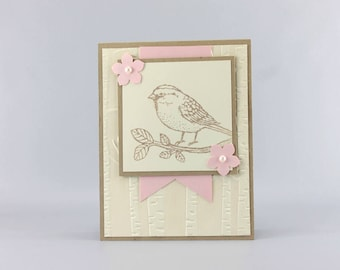 Bird Birthday Card - Hand Stamped Card - Stampin Up Card - Card for Her - Birthday Card - Nature Card - Friends Birthday Card - Card for Mom