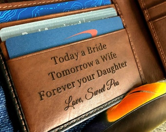 Father-of-the-bride gift • brides gift to dad • Father-of-the-groom gift • wedding for dad • personalized wallet/men's wallet • Blk/tof 7751