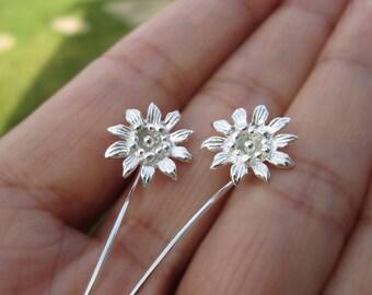 Passion flower earrings sterling silver earrings jewelry dangle earrings cute small stud earrings long stem earrings unique Threader E-122