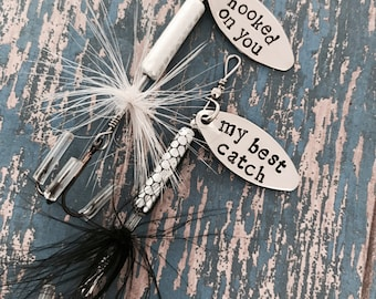 TODAY show feature Hooked on You Fishing Lure Hand Stamped Black or White Option - Boyfriend Gift - Fish - Hooked on you - Best Catch
