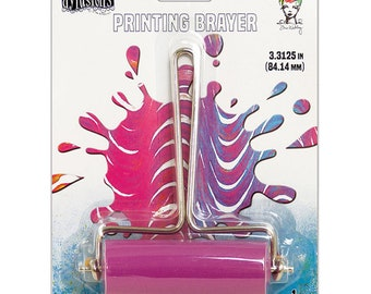 Ranger Ink Gel Plate Printing Brayer-MEDIUM W/PINK ROLLER-Ranger, Dyan Reaveley, and Dina Wakley