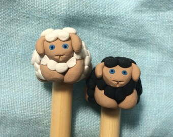 Sheep Knitting Needles, Polymer Clay, Bamboo Knitting Needles, Straight Needles, Sculpted Finials, Knitting Accessories,  10 inch Size US10