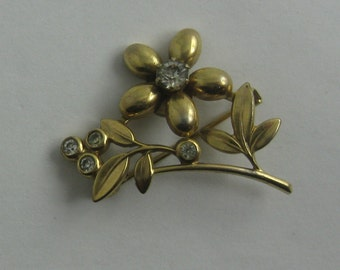 """Fashion jewelry """"cute FLOWERS"""". Brooch / pin made of metal. Probably 80s. Vintage"""