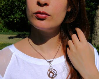 Copper Brown and bronze charm necklace