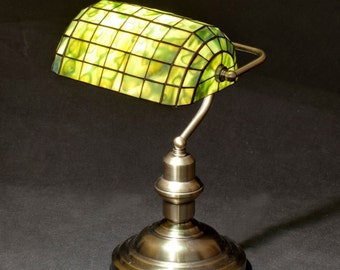 Bankers Lamp, Library Lamp, Brass Lamp, Stained Glass Lamp, Table Lamp, Office Lamp, Office Decor, Table Decor, Green Lamp Shade