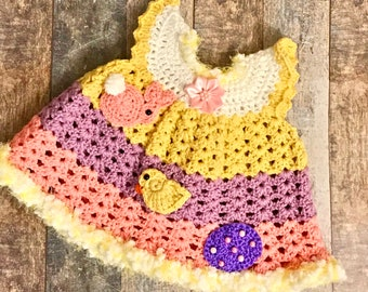 Crochet Newborn Dress, Newborn Dress, Newborn Clothes, Pinafore Dress, Crochet Pinafore Dress, Crochet Baby Dress, Angel Wing Dress