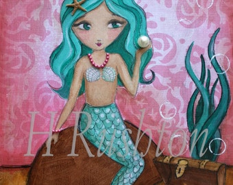 Mermaid - Mermaid Art- Kids wall Art- Mermaid Decor- Mermaid Wall Art - Print Sizes 11x14 or 16x20 by HRushton