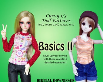 Basics 2 T-shirt & jeans clothes pattern for Curvy 1/3 60cm BJD: SD, SDGR, Dollfie Dream, Smart Doll,