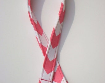 Lanyard - Key Chain - ID Holder with Swivel Lobster Claw and Key Ring and Badge Cover -Hot Pink and White Chevron / Zig Zag