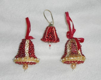 3 Vintage Beaded Bell Shaped Christmas Ornaments